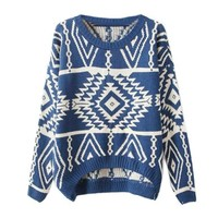Zeagoo Women's Geometric Knitted Sweater Loose Pullover Outwear Blue:Amazon:Clothing