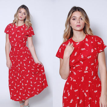 Vintage 80s SAILBOAT Print Dress NAUTICAL Print Dress Red Printed Day Dress NOVELTY Dress