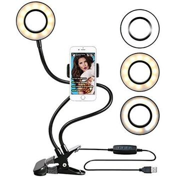 3-Light Mode Ring Light with Cell Phone Holder for Live Stream Dimmable Clamp on Gooseneck Mount with Selfie Ring Light (Color: