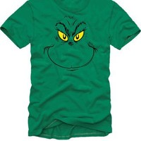 Dr. Seuss Big Grinch Face Green Adult T-shirt  - Dr. Seuss' Birthday Channel 7 - Free Shipping on orders over $60 | TV Store Online