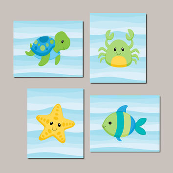 Boy Nursery Art, Sea Life, Sea Animlas, Under The Sea Nursery Decor Boy Bathroom Art Turtle Fish Crab Starfish Set of 4 Prints Or Canvas