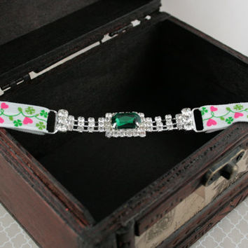 Rhinestone Headband, St Patricks Headband, Jeweled Headband, Elastic Headband, Baby Rhinestone Headband, Photo Prop