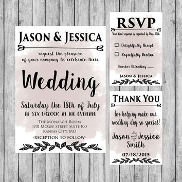 Wedding Watercolor Invitation - Wedding Decor - Wedding Invitation - Digital File - Watercolor Invitation