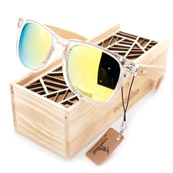 BOBO BIRD New Men and Women Sunglasses Polarized Bamboo Wood Holder Beach Sun Glasses With Wooden Gifts Box for Gifts 2017