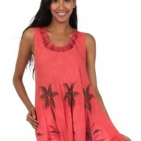 Sakkas Embroidered Watercolor Palm Tree Flared Hem Blouse