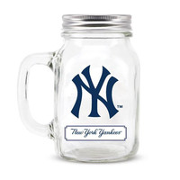 New York Yankees MLB Mason Jar Glass With Lid