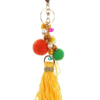 Yellow Pom Pom Tassel Bag Accessory Key Chain