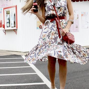 Floral Midi Dress With Coordinating Belt