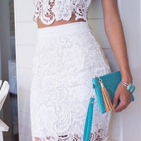 Lace White Two Piece Dress