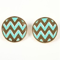 Mint Chevron Stripe Button Earrings