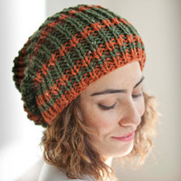 Army Green and Orange Tweed Slouchy Hat by Afra