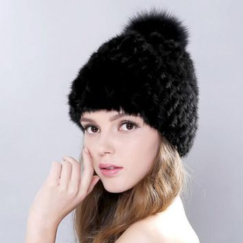 DCCKWQA New Lovely Real Mink Fur Hat For Women Winter Knitted Mink Fur Beanies Cap With Fox Fur Pom Poms Brand New Thick Female Cap