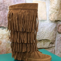 Dusty Brown Multi Layer Fringe Boots - BOOT339BR