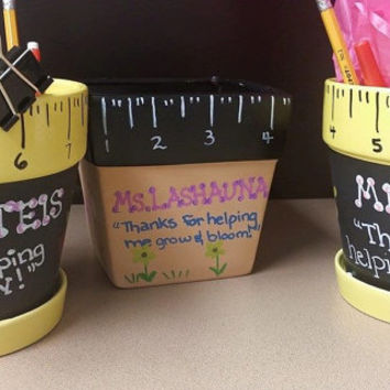 Custom Teacher Gift, Custom Teacher Ruler Ceramic Pot, Cup holder