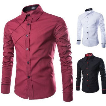 Mens Stylish Chest Design Dress Shirt