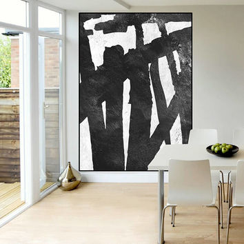 mid century modern wall art original Abstract painting black and white, large Acrylic painting, extra large wall art, Contemporary Painting