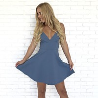 Date Night Skater Dress in Blue
