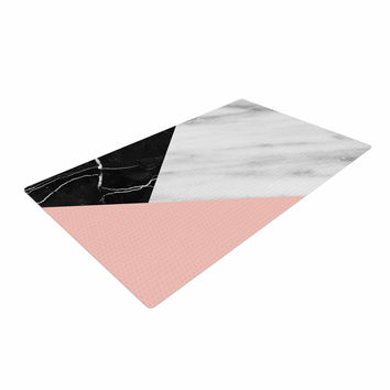 "Cafelab ""Marble Collage With Pale Pink ""  Gray Pink Woven Area Rug"