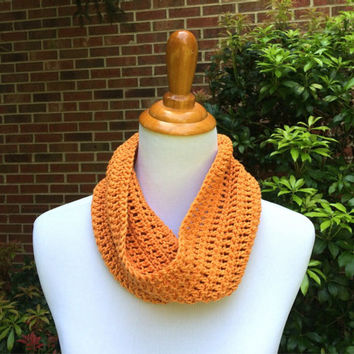 Lightweight crochet cowl, celosia orange spring cowl, cotton yarn, lace pattern cowl, orange cowl, neckwarmer, summer accessory, Pantone 17