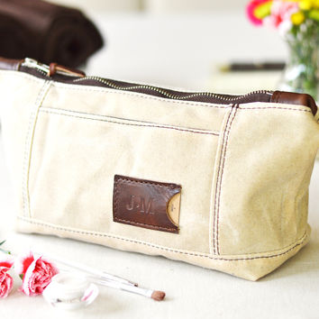 NO. 317 Personalized Toiletry Bag, Natural Ivory Waxed Canvas