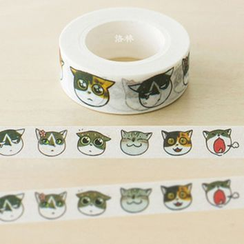 Lovely Cat Diary Washi Tape DIY Decoration Scrapbooking Planner Masking Tape Adhesive Tape Kawaii Stationery