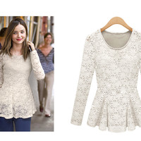 L 080903 Lace Slim long-sleeved shirt