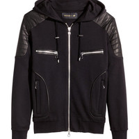 Leather-trimmed Hooded Jacket - from H&M