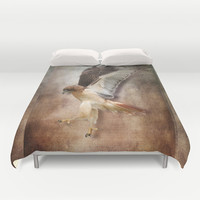 Evening Hawk Duvet Cover by naturessol