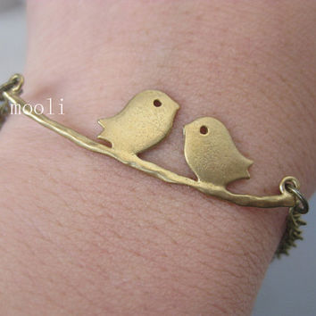 Love Two Birds Bracelet Chain Bracelet Charm Bracelet B066-9