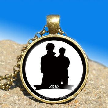 sherlock holmes watson 221b wallpaper bbc vintage pendant -necklace ready for gifting Buy 3 and get the 4th one free