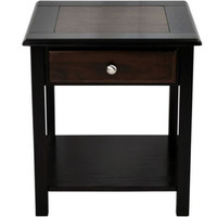 Contemporary End Table Solid Wood Walnut Top Drawer Espresso Finish Home Decor