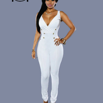 2016 summer style fashion women jumpsuits plus size sexy club bodysuit button solid elegant rompers deep v neck jumpsuits XD822