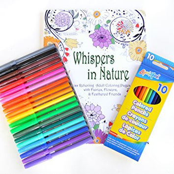 Whispers In Nature Fairies, Flowers & Feathered Friends Coloring Book for Adults with Coloring Markers & Pencils Set