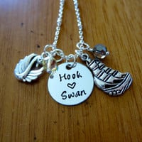 Once Upon A time Inspired Necklace. Swan and Captain Hook. Once necklace. Silver colored. Swarovski crystals. OUAT jewelry. OUAT necklace.