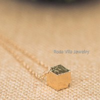 Gold Minimalist Cube Necklace