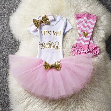 1 year girl baby birthday dress summer 2018 cotton kids baby clothes first 1st birthday Christening Christmas dresses for girls
