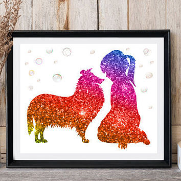 Nursery wall decor Girl silhouette Girl with dog Collie art Bubbles  Rainbow glitter Girls room decor Girly gift Dog print Dog card Print it