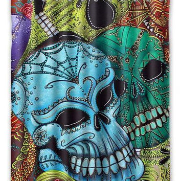 "Sugar Skull day of the dead tattoo custom Waterproof Shower Curtain 60"" x 72"" Free Shipping bathroom decor"