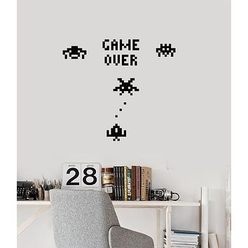 Vinyl Wall Decal Game Over Gamer Room Pixel Art Retro Video Games Stickers Mural (ig6111)