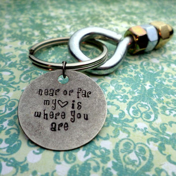 Near or Far, My Heart Is Where You Are, I'm Nuts About You Keychain, Men Keyring, Husband Gift, Boyfriend Gift, Long Distance Relationship