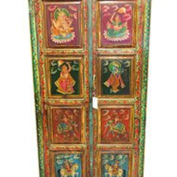 Antique Armoire Indian Painted Cabinet India Furniture Chest | Mogul Interior