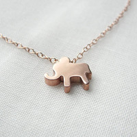 Rose gold filled necklace with pink elephant - lucky rose gold elephant necklace