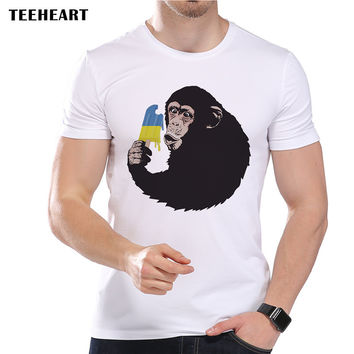 New Arrivals Men's Summer Funny Monkeys Eat Ice Cream Printed Short Sleeve T-Shirt Cool Tops Tee