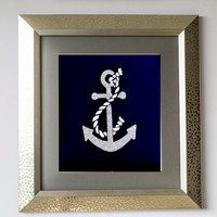 Wall Decor -Wall Art Anchor Sequin Navy Blue Silk -Living Room Decor -Gift -Wedding -Anniversary -Nursery -Wall Art -Navy White Wall Art