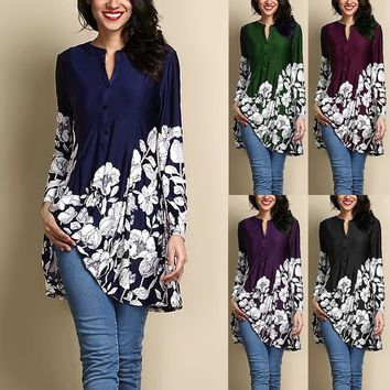 Womens Fashion Plus Size Pintuck Front Button Up Neck Floral  Printed 3/4 Sleeve Flared Tunic Blouse Dress Tops