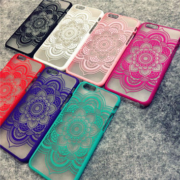 Brand New Beautiful Floral Henna Paisley Mandala Palace Flower Phone Cases Cover For iPhone 5 5s 6 4.7 6plus 5.5