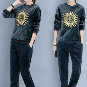 One-nice™ Versace Top Sweater Pullover Pants Trousers Set Two-Piece Sportswear Thick Grey