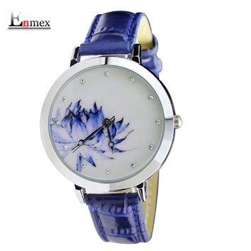 2017 lady gift Enmex brief design Lotus waterproof creative Oriental cultur Graceful Underglaze blue fashion quartz watches