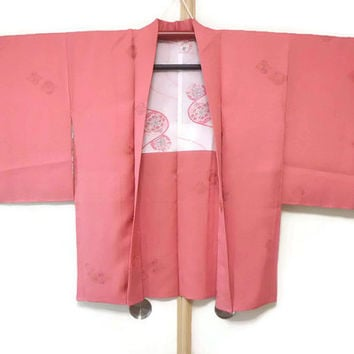 Vintage Coral Pink Silk Japanese Haori/ Silk Kimono Jacket/ Vintage Pink Jacket Fashion/ Autumn Spring Wear/ Traditional Costume JA0026VH