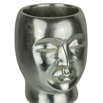 Metallic Silver Resin Decorative Head Planter Small